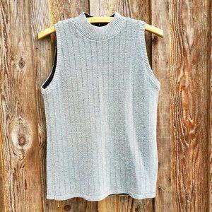 3/30$ 🍂 Metallic Silver Shell Mock Neck Sweater Vest Sleeveless Tank Top